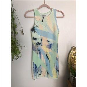 Zara Trafaluc asymmetric back paint body-con dress